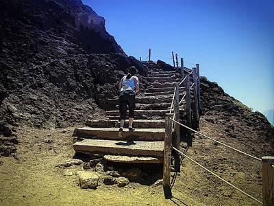 Woman Photograph - Climbing Mount Vesuvius by Zinvolle Art