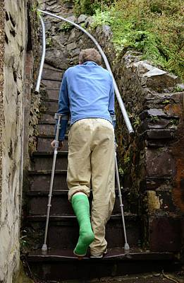 Climbing Steps On Crutches Art Print
