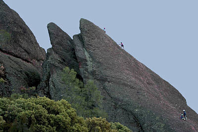 Photograph - climbing the rock at Pinnacles National Monument by SC Heffner