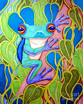Frogs Drawing - Climbing Tree Frog by Nick Gustafson