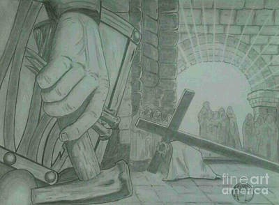 Art Print featuring the drawing Clinging To The Cross by Justin Moore