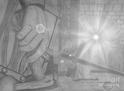 Art Print featuring the drawing Clinging To The Cross Lights by Justin Moore