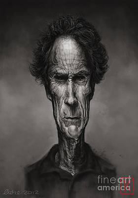 Digital Art Digital Art Drawing - Clint Eastwood by Andre Koekemoer