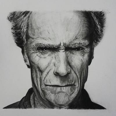 Dirty Harry Drawing - Clint Eastwood by Daniel Diehl