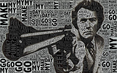 Celebrities Royalty-Free and Rights-Managed Images - Clint Eastwood Dirty Harry by Tony Rubino
