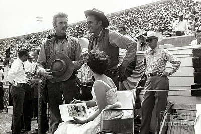 Photograph - Clint Eastwood  Eric Fleming Characters Rowdy Yates Salinas California 1962 by California Views Mr Pat Hathaway Archives