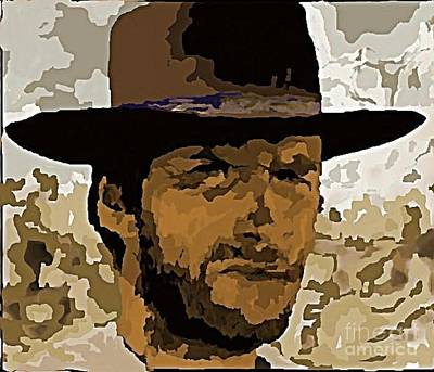 Gunfight Digital Art - Clint Eastwood by John Malone