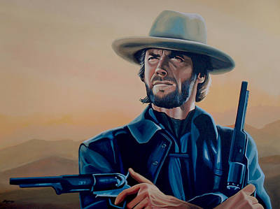 With Painting - Clint Eastwood Painting by Paul Meijering