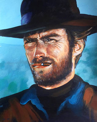 Painting - Clint Eastwood Portrait by Robert Korhonen