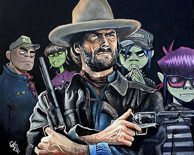 Clint Eastwood Art Painting - Clint Eastwood - The Gorillaz by Tom Carlton