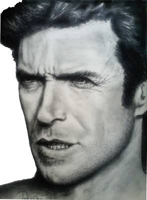 Dirty Harry Drawing - Clint by Todd Spaur