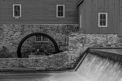 Clinton Red Mill Bw Art Print by Susan Candelario