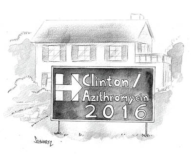 Hillary Clinton Drawing - Clinton/azithromycin by Benjamin Schwartz