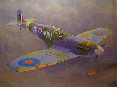 Painting - Clip Wing Spitfire by Terry Perham