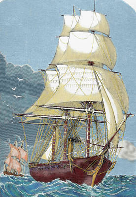 Clipper 19th-century Colored Engraving Art Print