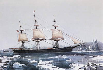 Sailboat Ocean Drawing - Clipper Ship Red Jacket In The Ice Off Cape Horn On Her Passage From Australia To Liverpool by American School