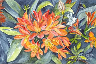 Floral Hand-painted Frame Painting - Clivia  by Carol Wisniewski