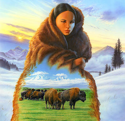 Indian Woman Wall Art - Photograph - Cloak Of Visions Buffalo by MGL Meiklejohn Graphics Licensing