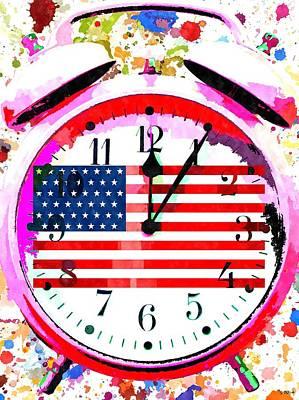 Clock Face Mixed Media - Clock American by Daniel Janda