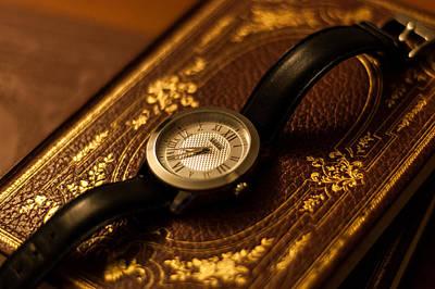 Clock And Book Art Print