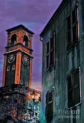 Old World Mixed Media - Clock At Corfu by Alan Greene