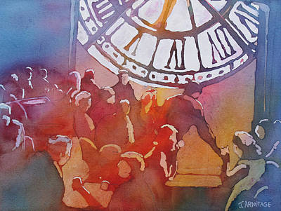 Coffee Painting - Clock Cafe by Jenny Armitage