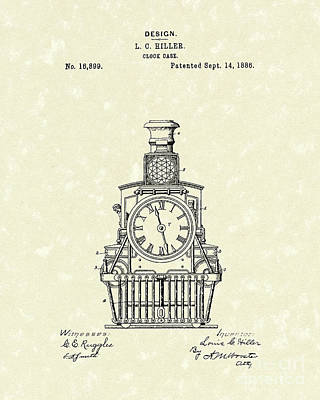 Drawing - Clock Case 1886 Patent Art by Prior Art Design