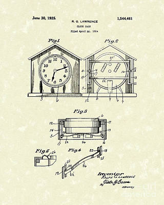 Drawing - Clock Case 1925 Patent Art by Prior Art Design