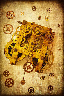 Gear Photograph - Clock Gears by Garry Gay