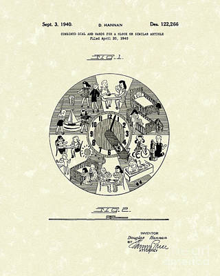 Clock Hands 1940 Patent Art Art Print