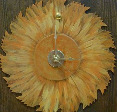 Saw Blade Painting - Clock by Karen Capehart