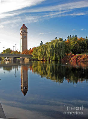 Photograph - Clock Tower 1 Spokane River by Cindy Murphy - NightVisions