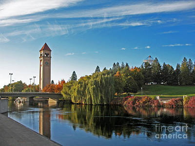 Photograph - Clock Tower 2 Spokane River by Cindy Murphy - NightVisions