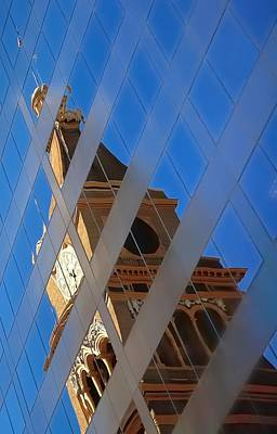 Jerry Sodorff Royalty-Free and Rights-Managed Images - Clock Tower and Flag Reflections 5411 by Jerry Sodorff