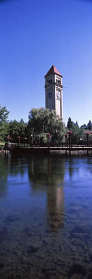 Built Structure Photograph - Clock Tower At Riverfront Park by Panoramic Images