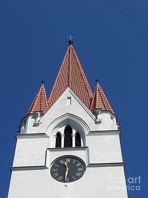 Photograph - Clock Tower. Evangelic Lutheran Church. Silute. Lithuania. by Ausra Huntington nee Paulauskaite