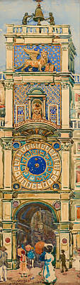 Clock Tower In Saint Mark's Square Venice Art Print by Mountain Dreams