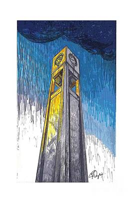 Drawing - Clock Tower by Ronda Douglas
