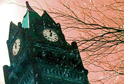 Photograph - Clocktower In Teal And Coral by Desiree Paquette