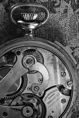 Photograph - Clockworks Black And White by Mary Bedy
