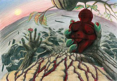Desert Sunset Drawing - Strange Fruit by Tijmen Brozius