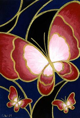Paiting Painting - Cloisonne Butterfly by Elaina  Wagner