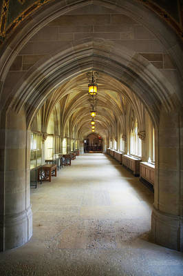 Sterling Photograph - Cloister Hallway Inside Sterling Memorial Library - Yale University by Mountain Dreams