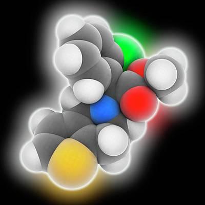 Clopidogrel Drug Molecule Art Print by Laguna Design