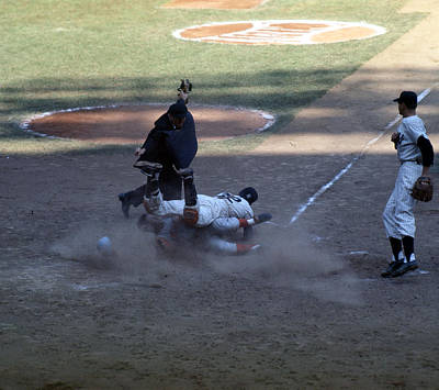 Old Yankee Photograph - Close Play At The Plate  by Retro Images Archive