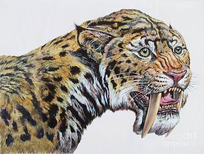 Tiger Markings Digital Art - Close-up Headshot Of Megantereon by Mark Hallett