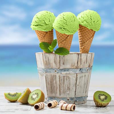 Kiwi Photograph - Close Up Ice Creams by Amanda Elwell