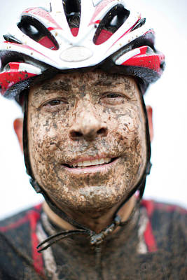 Hobbies And Collections - Art And Photograph - Close Up Of A Bicyclists Muddy Face by David Ellis