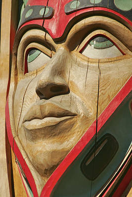 Totem Figure Photograph - Close Up Of A Face On A Traditional by Clark Mishler