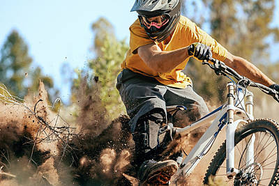 Photograph - Close Up Of A Mountain Biker Ripping by Daniel Milchev